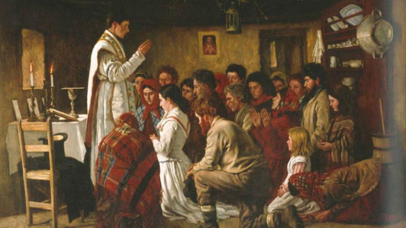 """Aloysius O'Kelly's """"Mass in Connemara Cabin"""""""